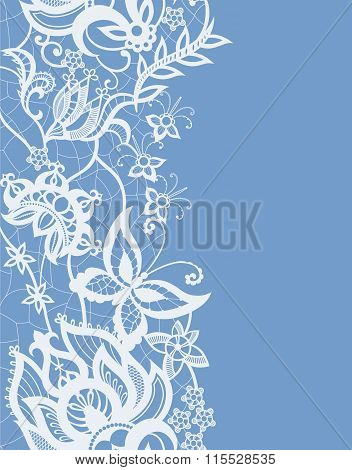 Abstract Lace With Elements Ofv Flowers, Leaves And Butterfly