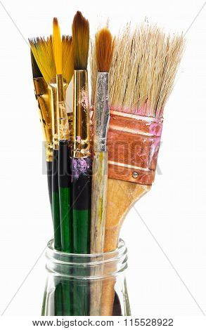 Stained paint brushes