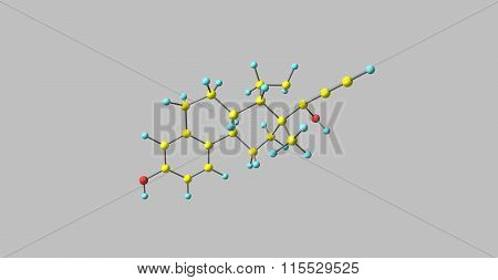 Ethinyl Estradiol Molecule isolated on grey