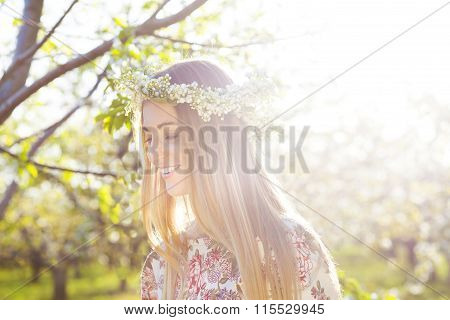 Beautiful Romantic Woman With Long Blond Hair In A Wreath Of Lily Of The Valley