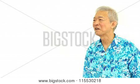 Happy Asian Senior Guy On Blue Hawaii Shirt Looking Aside On White Isolate Background