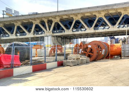 Storage Of Building Materials And The Third Ring Road Bridge