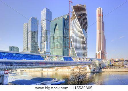Modern Shopping Footbridge Over The River Moskva