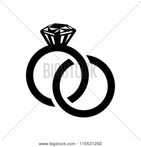 Wedding rings simple icon