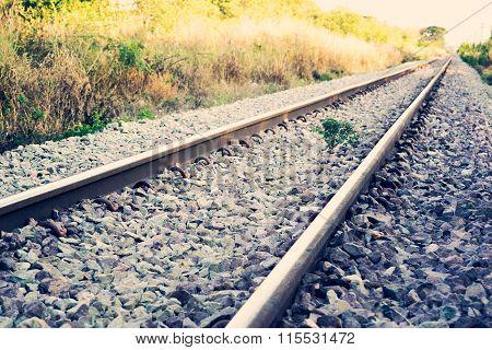 Railway Or Railroad Tracks For Train Transportation (vintage Style)