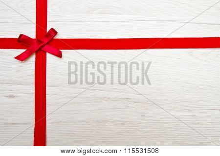 Valentines Day Background With Red Ribbon Over Wood