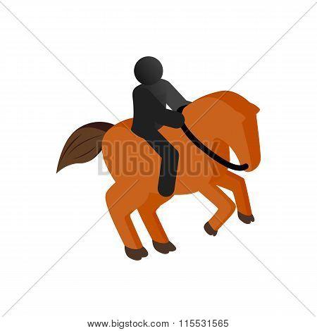 Horseback riding isometric 3d icon