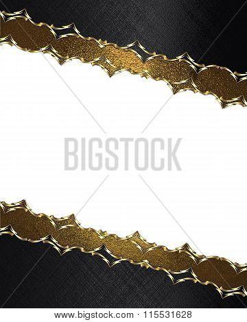 Black Frame With Golden Framing. Element For Design. Template For Design. Copy Space For Ad Brochure