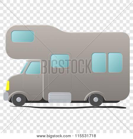 Cartoon camping van. Caravan
