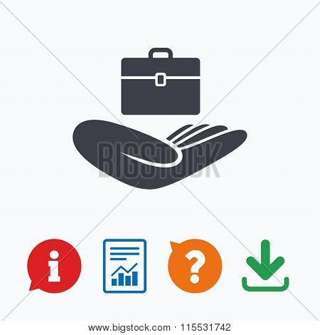 Baggage insurance sign. Hand holds luggage.