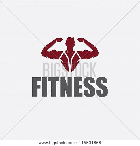 Bodybuilder Fitness Model Silhouette Vector Design Template