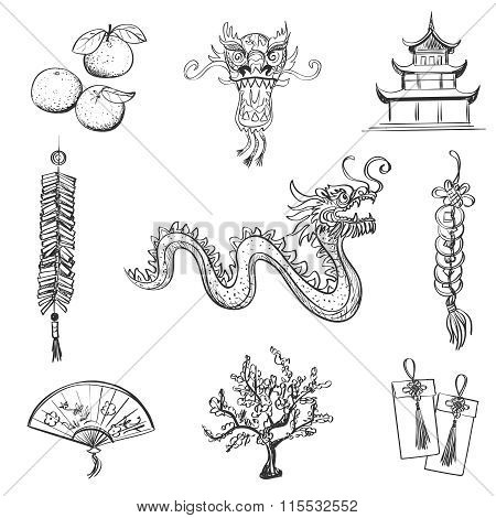Chinese New Year icons set, Chinese word - Happy new year. Spring and Blessing.