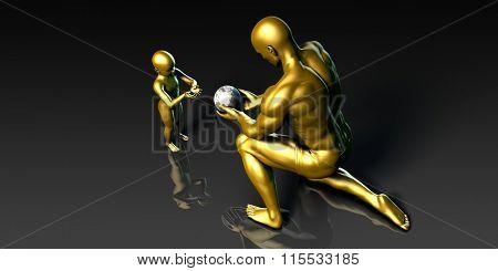 Father Imparting Wisdom to His Child or Son