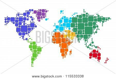 Multicolored World Map