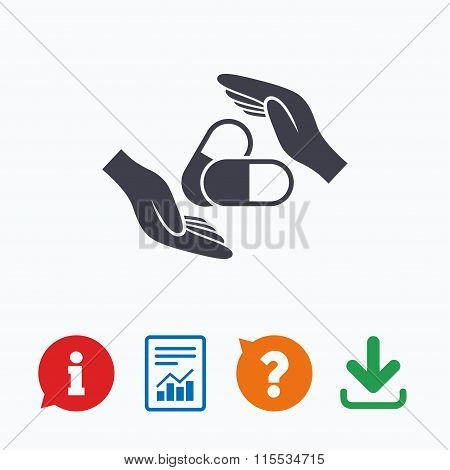 Medical insurance sign. Hand holds pills.