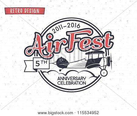 Air fest emblem. Biplane label. Retro Airplane badges, design elements. Vintage prints for t shirt.