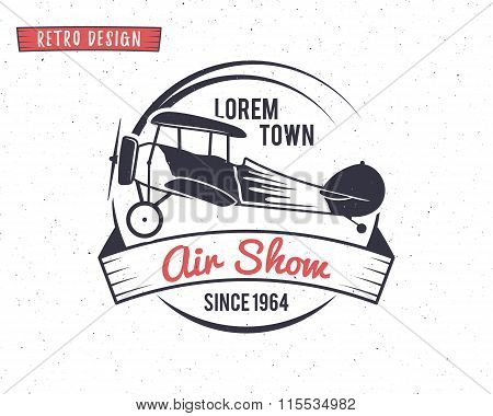 Airshow stamp. Biplane label. Retro Airplane badges, design elements. Vintage prints for t shirt. Av