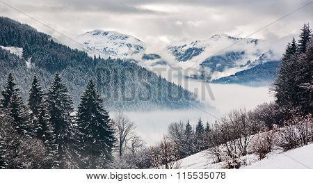 Zillertal At A Winter Day, Tyrol, Austrian Alps