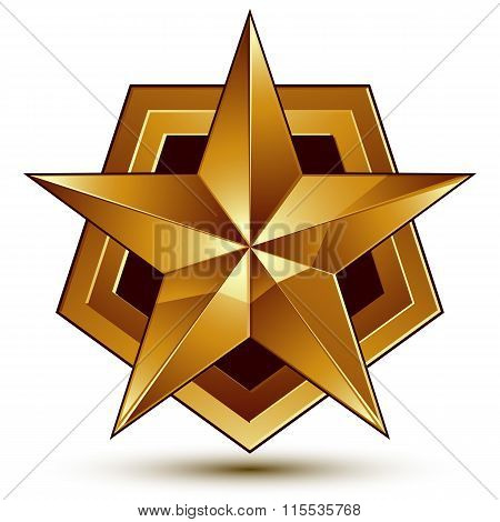 Vector Glorious Glossy Design Element, Luxury 3D Golden Star, Conceptual Graphic Template, Clear Eps