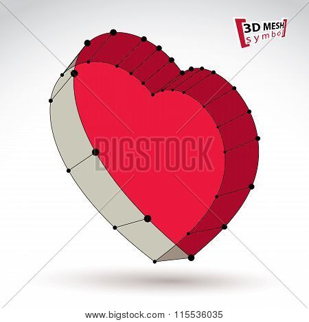 3D Mesh Stylish Web Red Love Heart Sign Isolated On White Background, Colorful Elegant Carcass Lovin