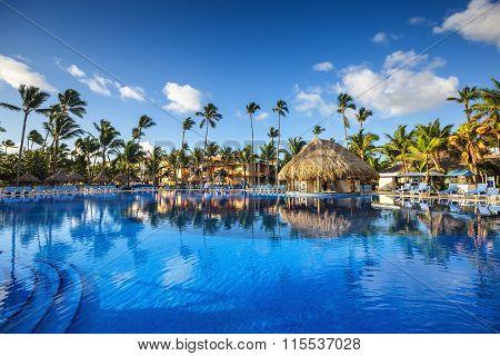 Tropical Swimming Pool In Luxury Resort, Punta Cana