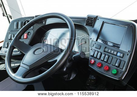 Dashboard With Navigation Of An Autobus. Modern Auto Control Panel.