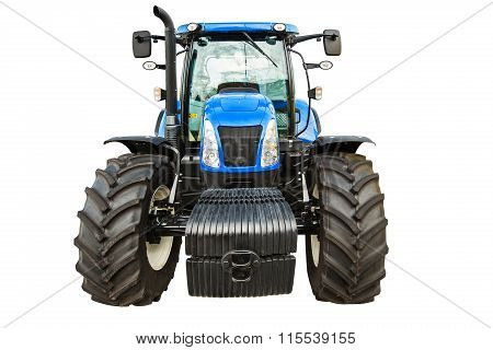 New Agricultural Tractor Isolated On White Background With Clipping Path.