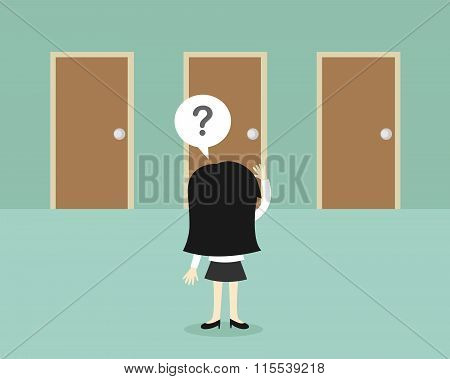 Business concept, Business woman is confusing about tree doors. Vector illustration.