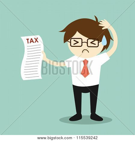 Business concept, businessman feeling stressed about tax. Vector illustration.