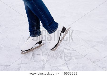 Woman Ice Skating. Winter Outdoors On Ice Rink.