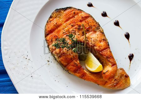 Grilled Humpback Salmon With A Lemon