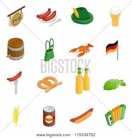 Oktoberfest party isometric 3d icons