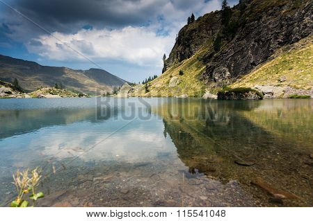 Romantic Mountain Lake In Alps