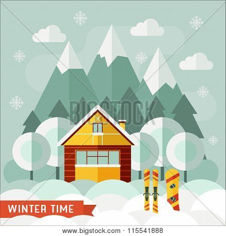 Winter House Snowboarding And Skiing Sports Concept