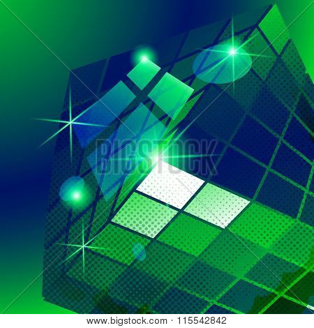 Plastic Pixilated green Backdrop With Glossy 3D Cybernetic Model, Reflective backdrop