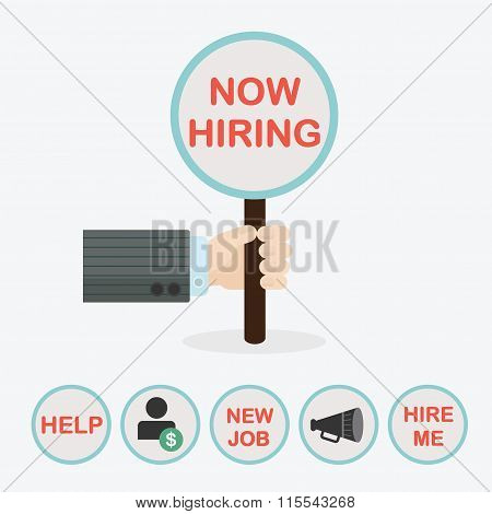 Male hand holding vertical circle paddle stick and word Now Hiring - with extra word HELP word NEW J