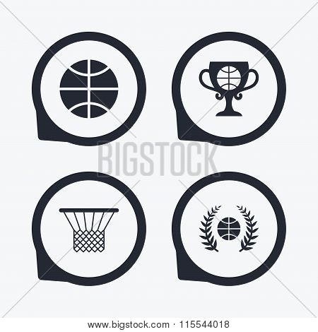 Basketball icons. Ball with basket and cup symbols.
