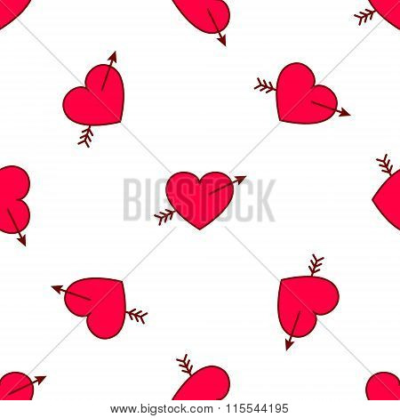 Vector valentines hearts with arrows seamless pattern. Wedding background. Love and passion design e