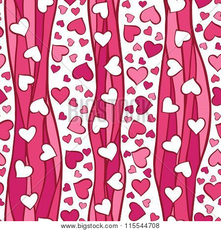 Pink hearts and waves