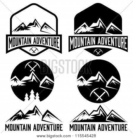 Set Of Vintage Labels Mountain Adventure