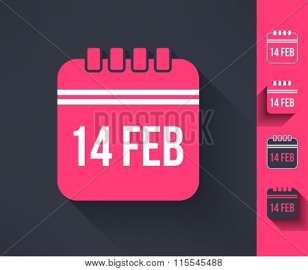 Set of vector valentines calendar reminder symbols made in modern flat design. Love and romance desi