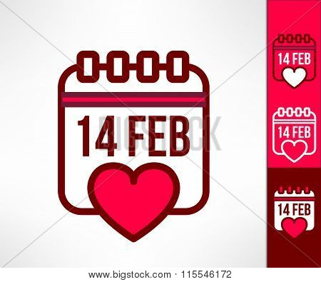 Set of vector otline valentines calendar reminder symbols with heart. Love and romance design elemen