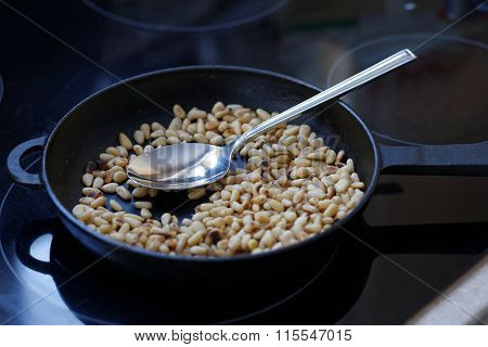 Pine Nuts Fried In A Pan