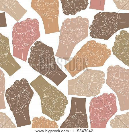 Clenched Fists Seamless Pattern, Vector Background For Design.