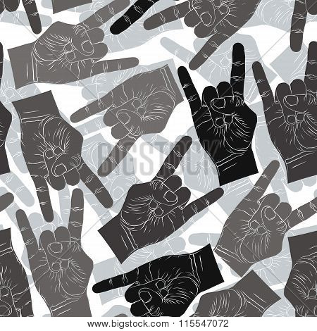 Rock on Hands Seamless Pattern, Rock, Metal, Rock And Roll Music Style Vector Background