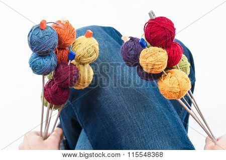 Bouquet Of Balls On The Knitting Needles