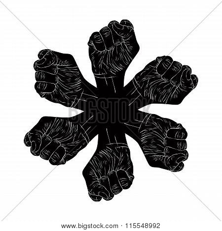 Six clenched fists abstract symbol black and white vector special emblem