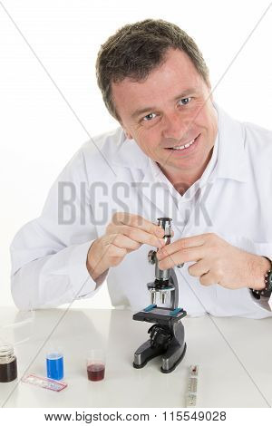 Male Researcher With Microscope - Portrait Of A Man