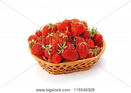 Sweet, Fragrant Strawberries In A Wicker Basket
