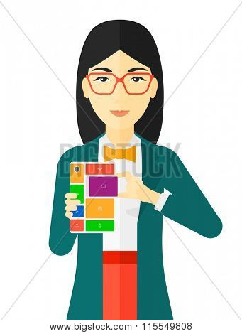 Woman with modular phone.
